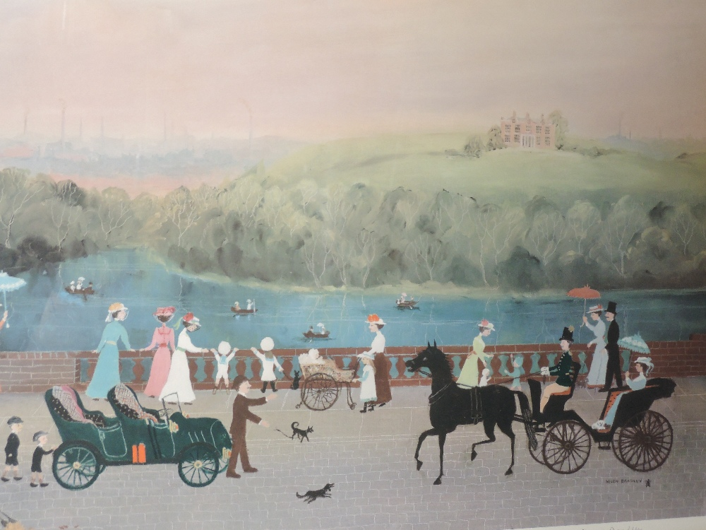 A print, after Helen Bradley, It Was a Beautiful Place, signed, 48 x 70cm, plus frame and glazed