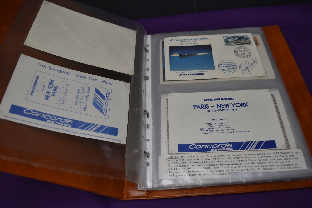 An album of Commemorative Covers including signed, Concorde, Inaugural flight Paris-New York, New