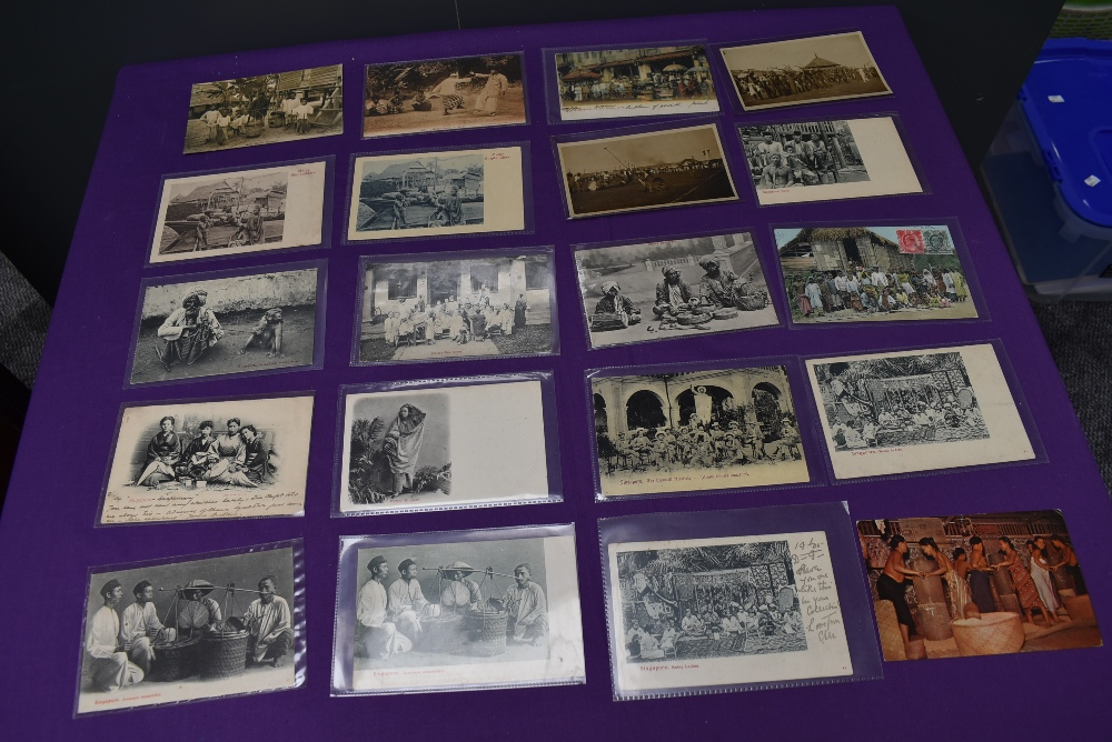 A collection of vintage Ethnographic black & white and colour Postcards, Singapore Javanese Hadjee - Image 4 of 9