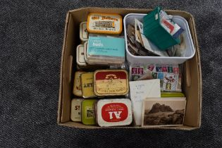 A box of GB Stamps, used, on and off paper, in tins and on sheets