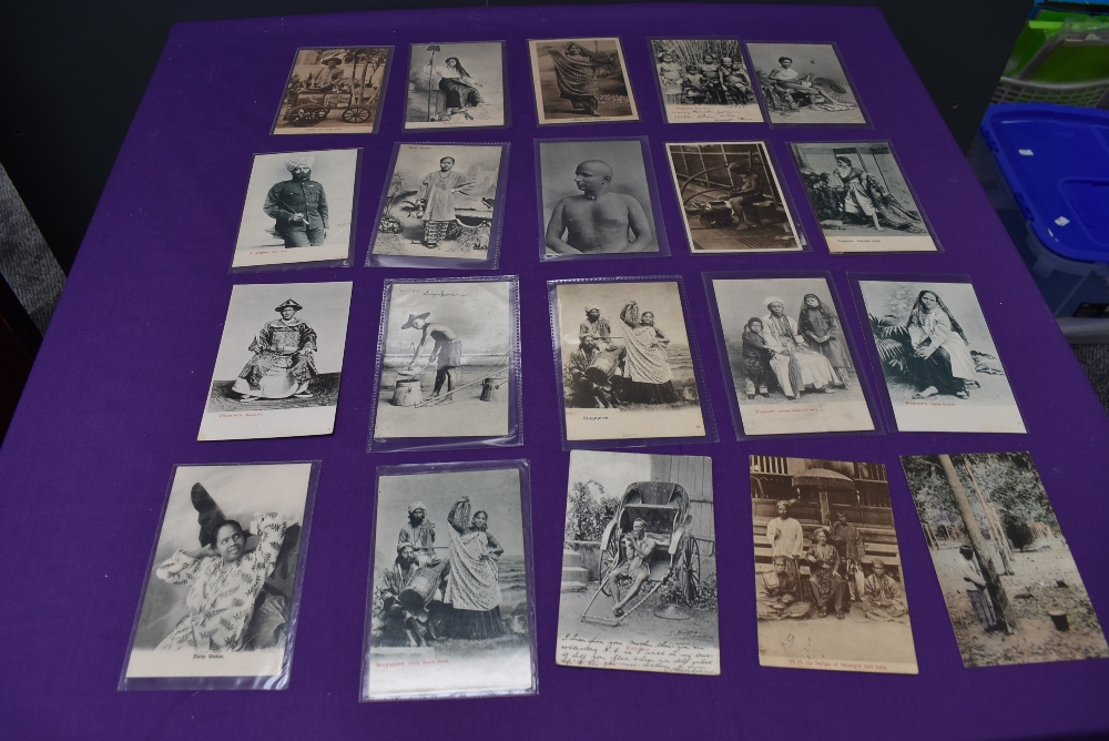 A collection of vintage Ethnographic black & white and colour Postcards, Singapore Javanese Hadjee - Image 7 of 9