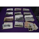 A collection of Photographs and Postcards including Black & White cards, Shipping interest, many