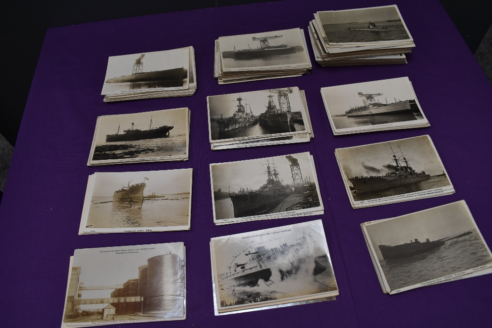 A collection of mainly Black & White Vintage Photograph Postcards of Shipping interest at Barrow