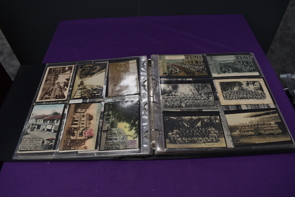 A vintage Postcard Album, Singapore, black & white and colour cards, over 200 cards seen including