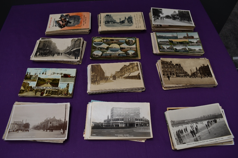 A collection of approx 300 vintage Postcards of Barrow in Furness including Real Photo Cards, Street