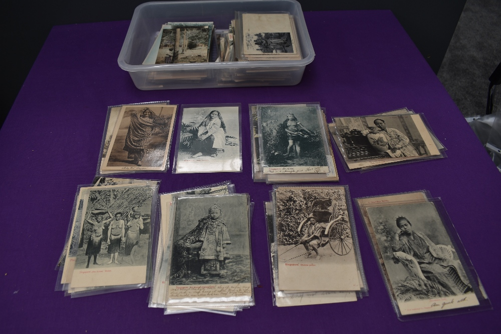 A collection of vintage Ethnographic black & white and colour Postcards, Singapore Javanese Hadjee