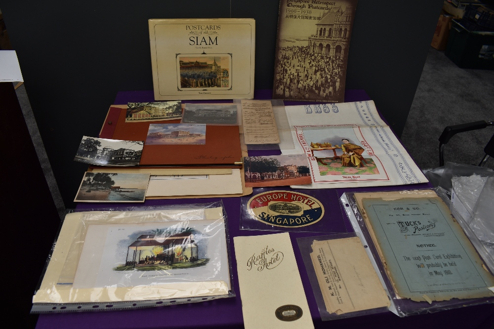 A collection of Ephemera and miscellanaous including Sian and Singapore Postcard Books, Tucks