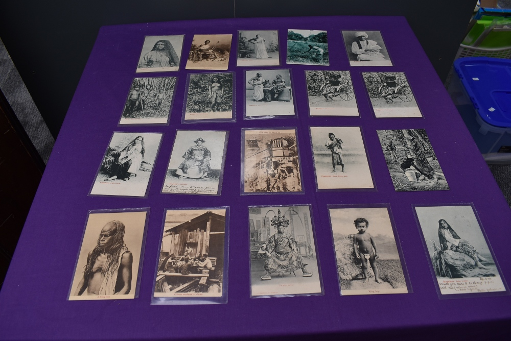 A collection of vintage Ethnographic black & white and colour Postcards, Singapore Javanese Hadjee - Image 6 of 9