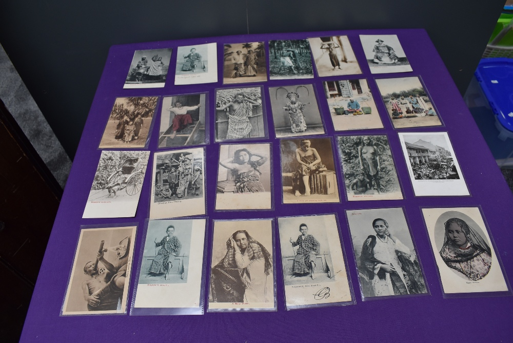 A collection of vintage Ethnographic black & white and colour Postcards, Singapore Javanese Hadjee - Image 2 of 9