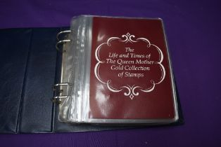 An album of The Life and Times of the Queen Mother Gold Collection of Stamps, 35 large 22ct Gold