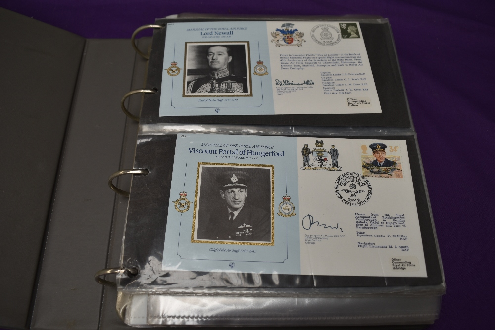 A folder containing Royal Air Force Covers, mainly signed, including Marshalls of the Royal Air