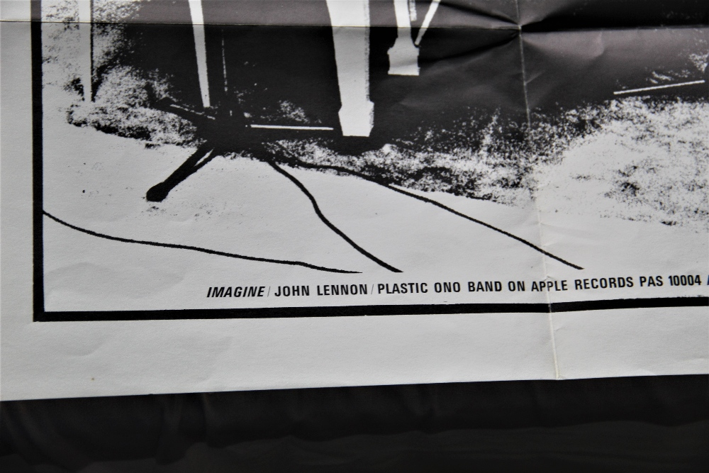 A promo poster for ' Imagine ' by John Lennon - this would have been sent to record shops and is not - Image 2 of 4