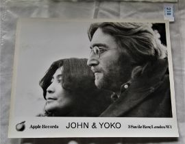 A John and Yoko official Apple records press photo 25cm by 20cm