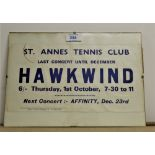 An original gig flyer for Hawkwind in St Annes - dated to 1971 - followed by Affinity - a really