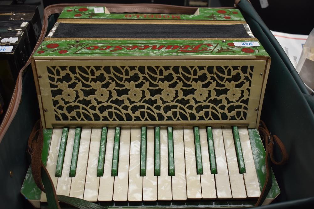 A vintage Saxony made Francesco Modello piano accordian