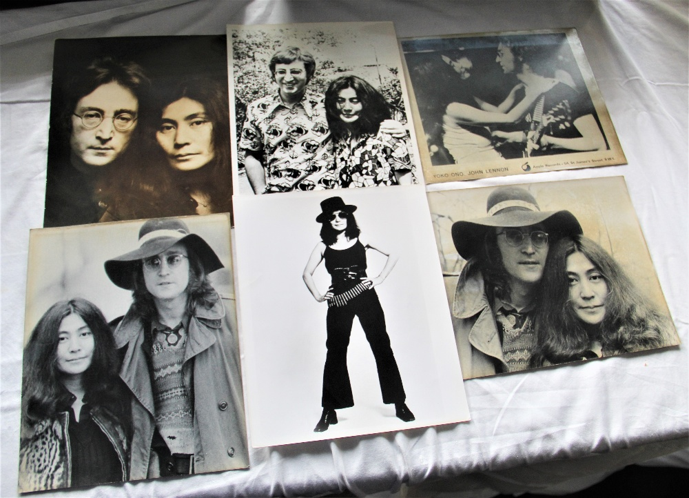 A lot of six photos - John and Yoko and one solo Yoko - 25cm by 20cm