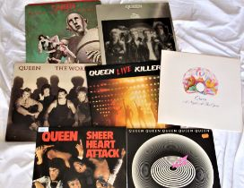 A seven album Queen lot - poster / fold out attached as in photos