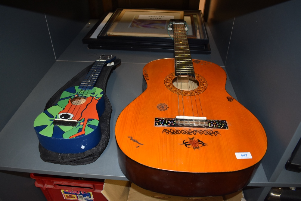 A Hohner Concerta classical guitar, and a Stag Ukulele