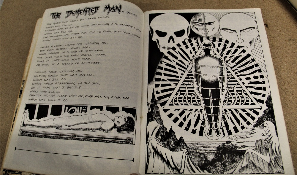A signed Hawkwind / illustrated lyric book - some wear but regardless a really nice piece - Image 3 of 6