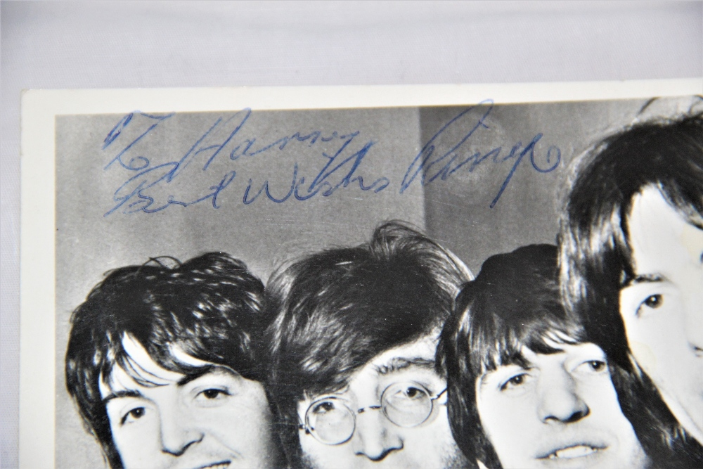 A Beatles signed photo - looks like 1965 / 1966 - dedicated to Harry - all four signatures present - - Image 2 of 4