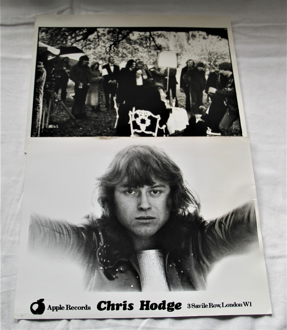A lot of two photos - one movie still with Ringo Starr and Apple recording artist Chris Hodge