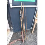 A Milbro Bantam spilt cane rod and a vintage Bamboo rod in sleeves, some eyelets missing.