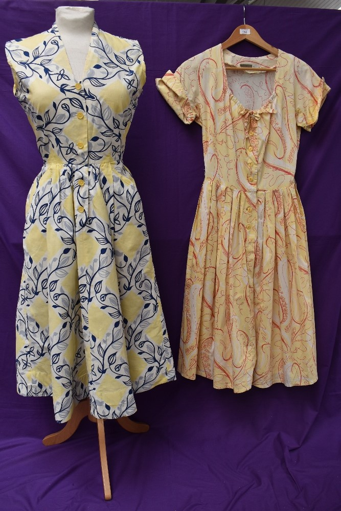 Two scarce and collectable late 1940s Horrockses cotton sun dresses in yellow, both having CC41