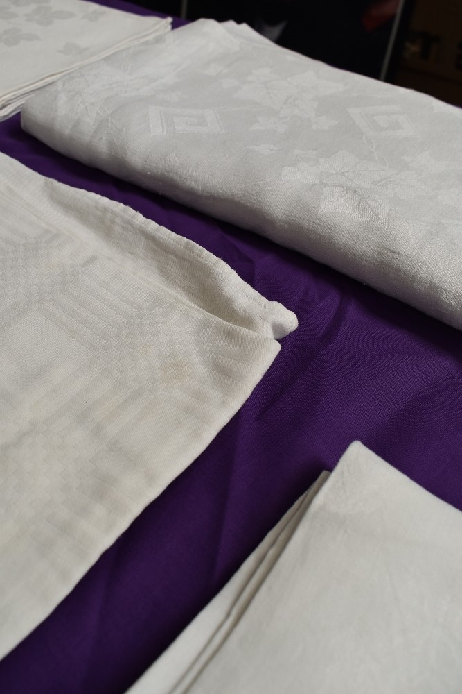 Six antique damask table cloths. - Image 3 of 6
