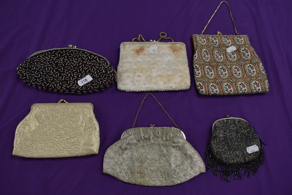 A collection of vintage evening bags beaded and embroidered examples amongst this lot