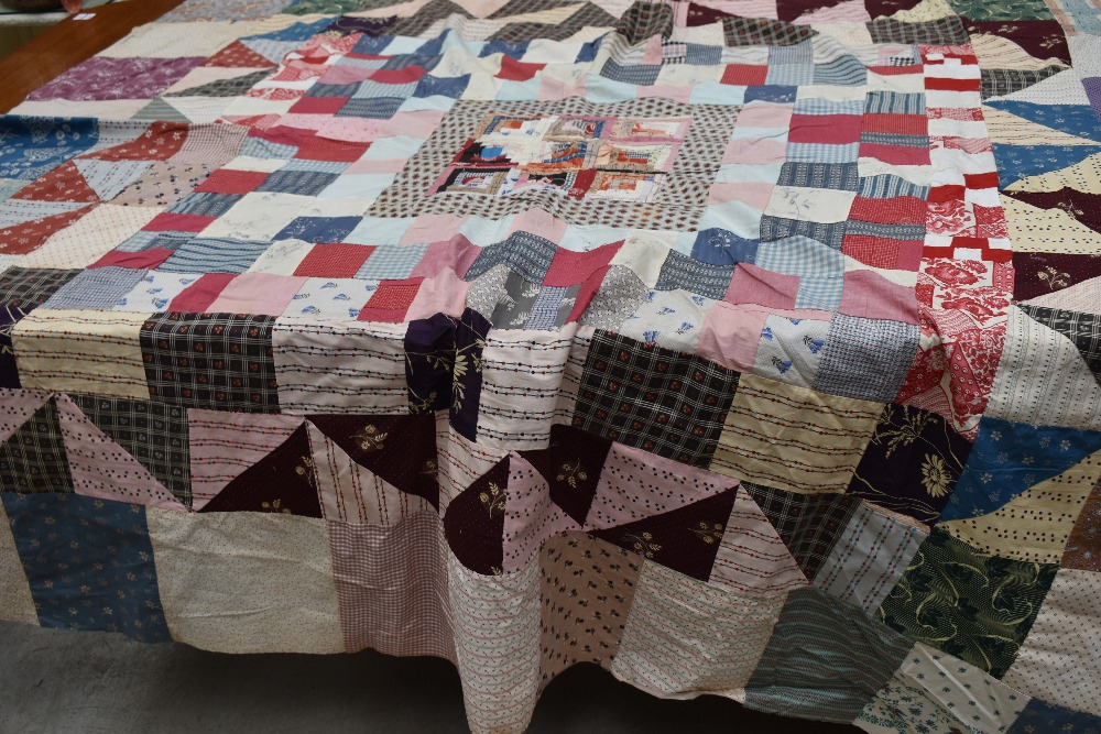 Two antique patch work quilts,both unfinished projects and are not padded or backed,brilliant bright - Image 4 of 9