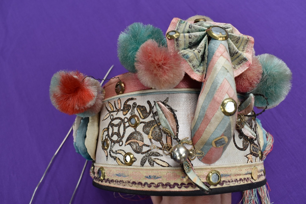 A vintage oriental cap with pom poms,bells, and metallic embroidery with mirrors, also included - Image 3 of 3
