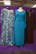 Three wonderfully floaty 1960s maxi dresses, including teal blue chiffon over laid Peterson maid