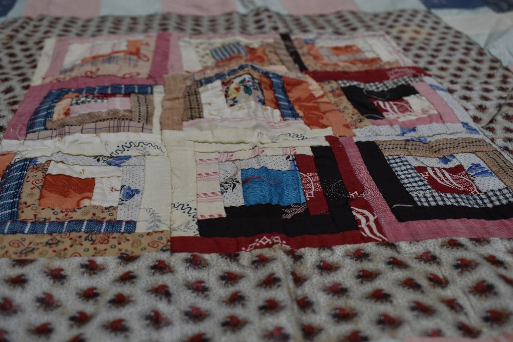 Two antique patch work quilts,both unfinished projects and are not padded or backed,brilliant bright - Image 3 of 9