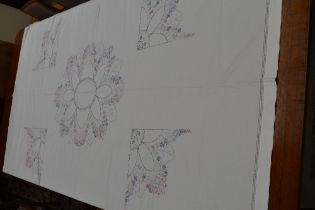 A very large vintage table cloth or bed throw having extensive floral, chain and running stitch