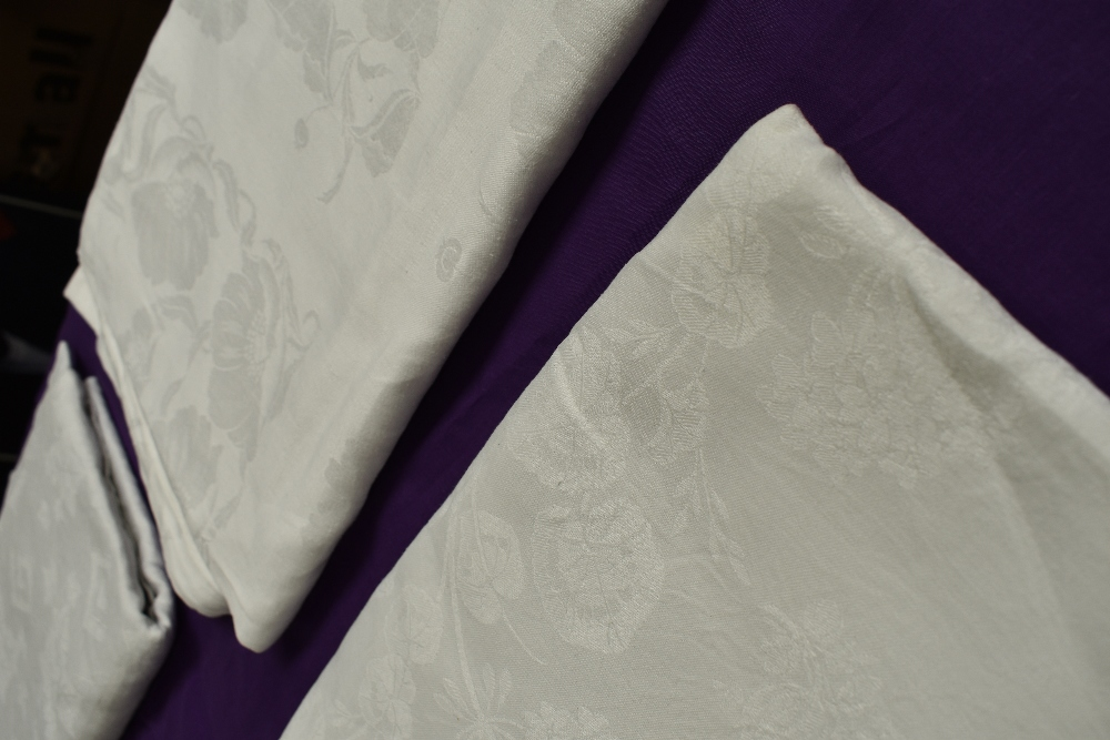 Six antique damask table cloths. - Image 4 of 6