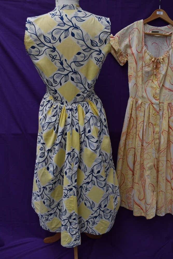 Two scarce and collectable late 1940s Horrockses cotton sun dresses in yellow, both having CC41 - Image 5 of 15