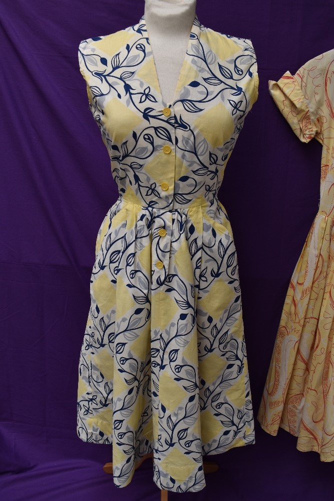 Two scarce and collectable late 1940s Horrockses cotton sun dresses in yellow, both having CC41 - Image 2 of 15