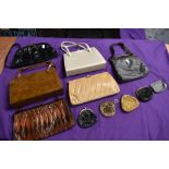 A collection of vintage handbags and purses,including Jane Shilton.