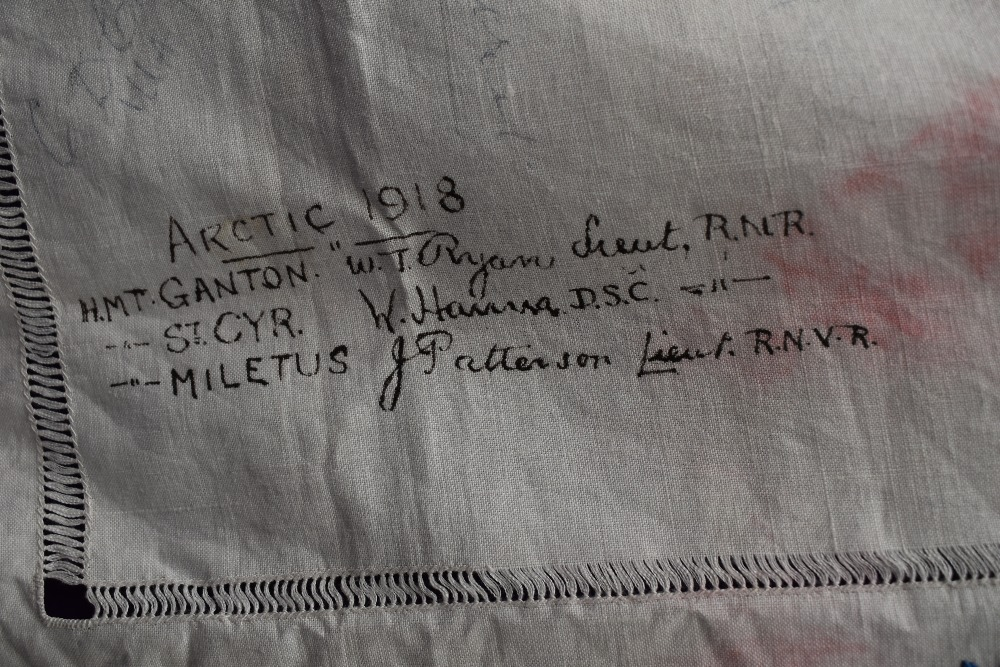 A wonderful piece of WW1 military history in the form of a table cloth, having embroidered and - Image 3 of 7