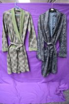 Two gents dressing gowns, one blue 1960s of Tricel, the other of green patterned cotton,late 50s/
