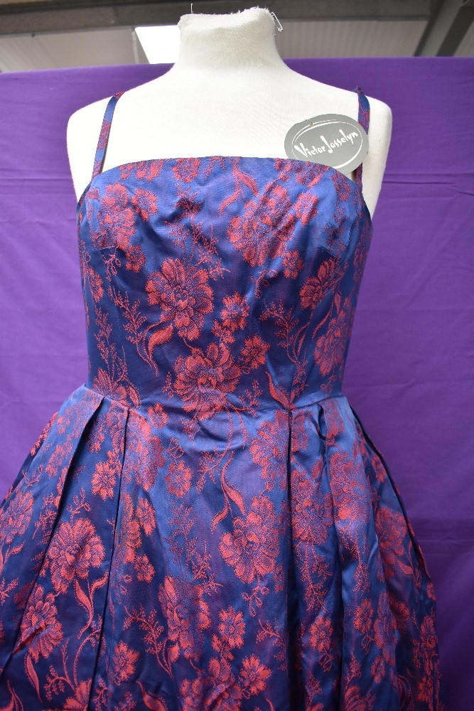 A 1950s Victor Josselyn gown in iridescent purple and red with hooped underskirt with box and - Image 2 of 4