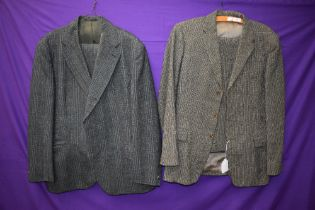 A gents 1950s Irish tweed suit in green and brown tones,button fly to trousers and three pockets