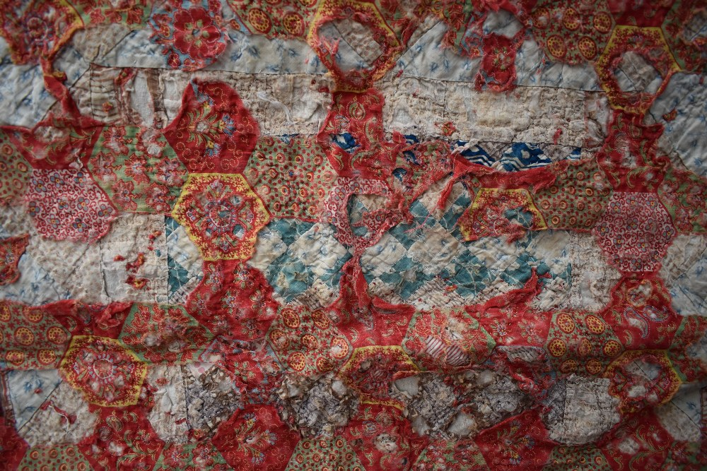 Two colourful antique patchwork quilts, both having damage. - Image 7 of 7