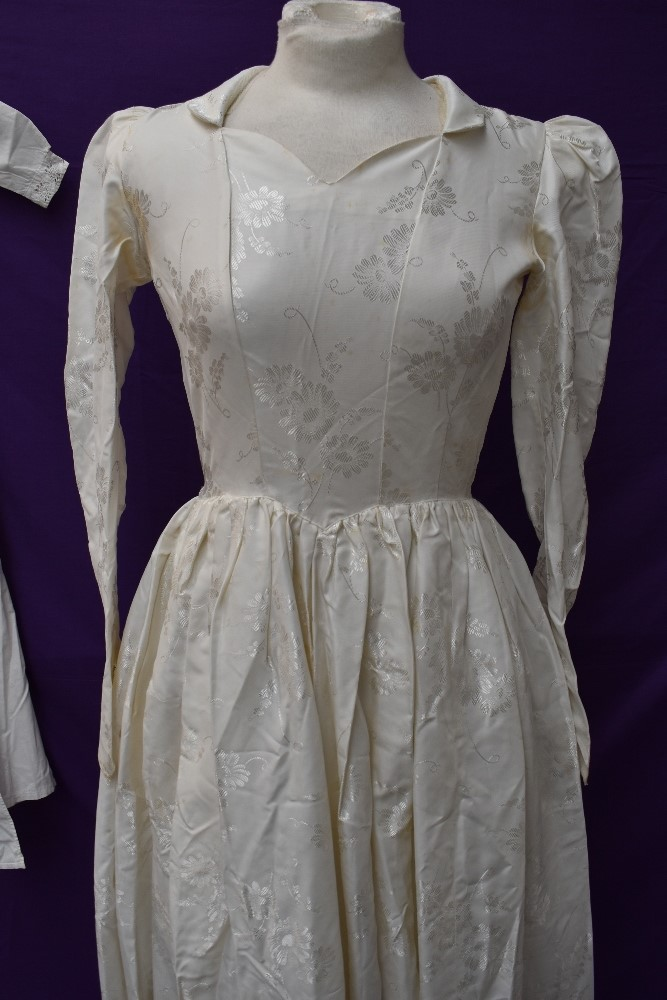A Victorian baby gown having pin tuck and broderie anglais detail, a 1920s/30s wax flower head dress - Image 2 of 4