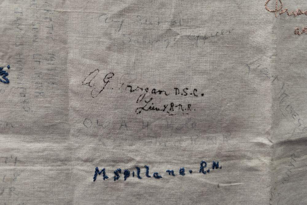 A wonderful piece of WW1 military history in the form of a table cloth, having embroidered and - Image 6 of 7
