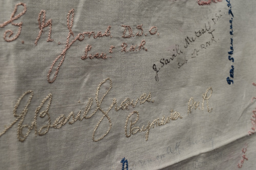 A wonderful piece of WW1 military history in the form of a table cloth, having embroidered and - Image 7 of 7