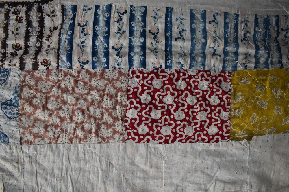 Two colourful antique patchwork quilts, both having damage. - Image 3 of 7