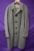 A gents vintage 1950s overcoat by Dunn and Co 'Cloth made by Crombie, Aberdeen, Scotland', single