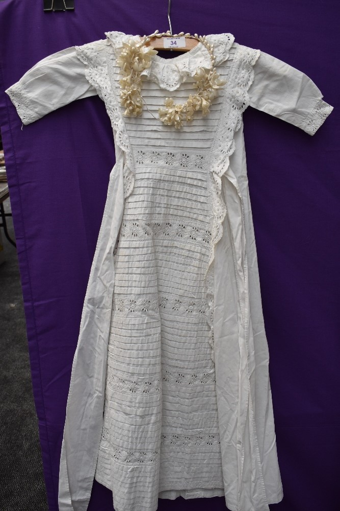 A Victorian baby gown having pin tuck and broderie anglais detail, a 1920s/30s wax flower head dress - Image 3 of 4