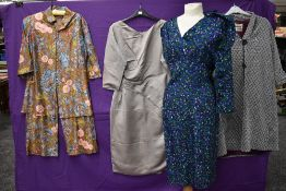 A mixed lot consisting of 1950s duster coat having bow detail to 3/4 sleeves 'Rebere of Mayfair